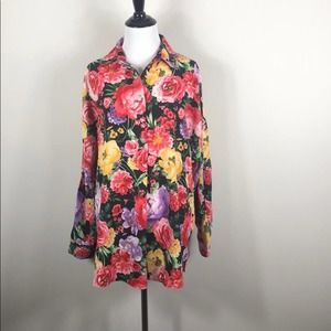 Catherine Malandrino Top Floral Button Down Blouse